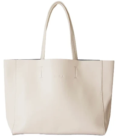 HOOPLA LEATHER LARGE LANDSCAPE TOTE CREAM