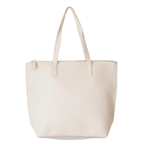 HOOPLA LEATHER LARGE ZIP TOTE CREAM