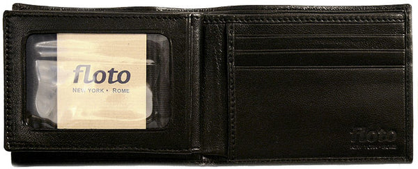 FLOTO Firenze Leather Double Billfold ID Wallet Black