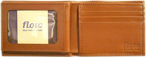FLOTO Firenze Leather Double Billfold ID Wallet Brown