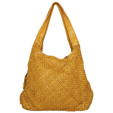 CADELLE LEATHER Kia Woven Bag Saffron Yellow