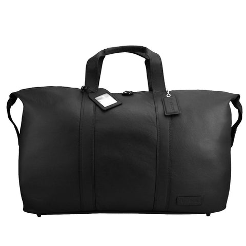 MANZONI LEATHER OVERNIGHT BAG L14 BLACK WITH FREE WALLET