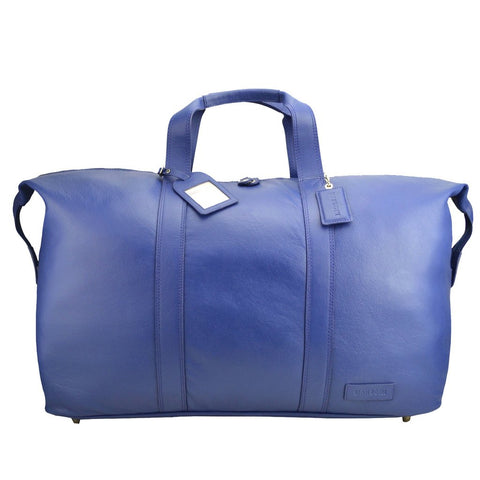 MANZONI LEATHER OVERNIGHT BAG L14 NAVY BLUE WITH FREE WALLET