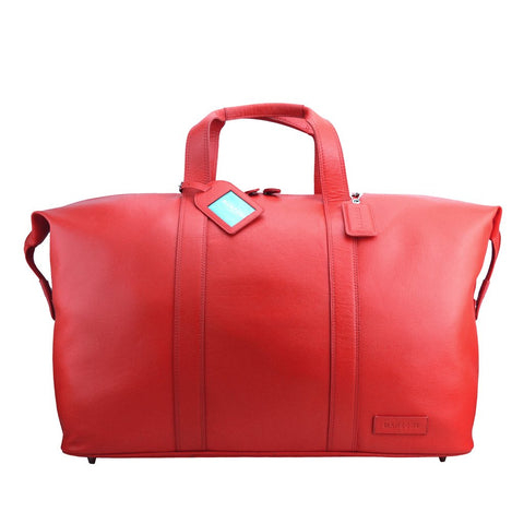 MANZONI LEATHER OVERNIGHT BAG L14 RED WITH FREE WALLET