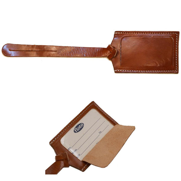 FLOTO LUGGAGE TAG LEATHER OLIVE BROWN