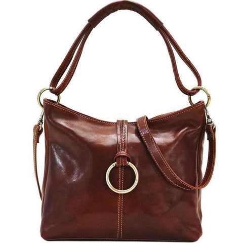 Italian Leather Shoulder Bag Floto Tavoli Tote vecchio brown