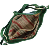 Italian Leather Shoulder Bag Floto Tavoli Tote green inside