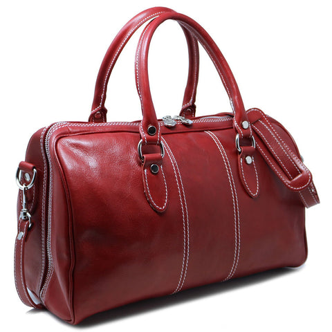 Floto Italian leather mini duffle bag handbag carryon red