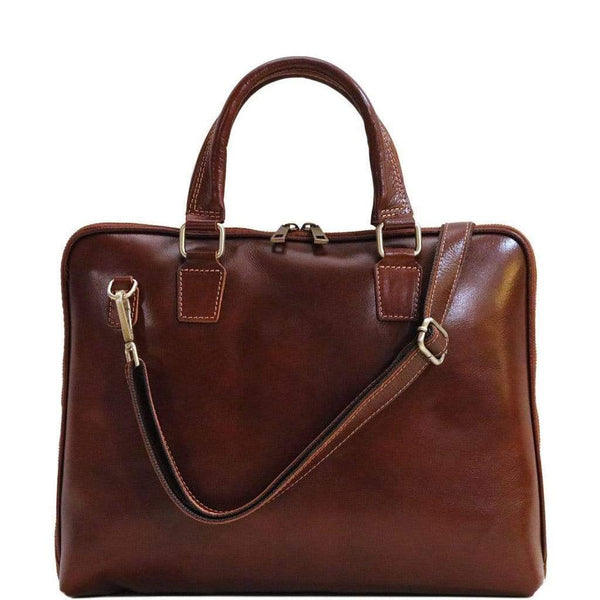 leather slim briefcase floto cortona