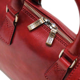 Leather Slim Briefcase Milano Red Close