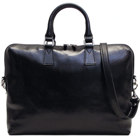 FLOTO Milano Leather Slim Briefcase Black