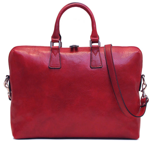 FLOTO Milano Leather Slim Briefcase Red