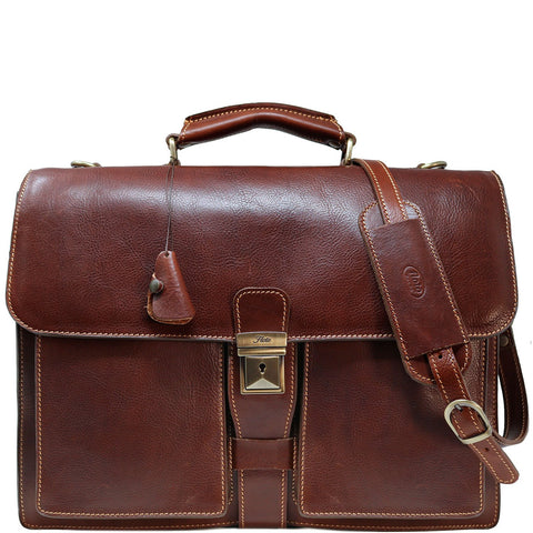 Leather Briefcase Floto Novella Italian Messenger Bag Attache brown