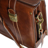 Floto Italian Leather Briefcase attache Trastevere brown close