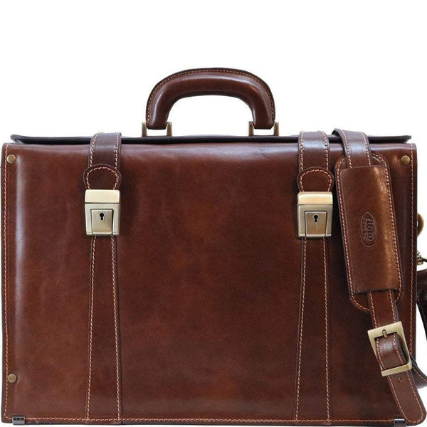 Floto Italian Leather Briefcase attache Trastevere brown