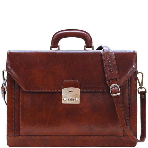 leather briefcase venezia combination lock
