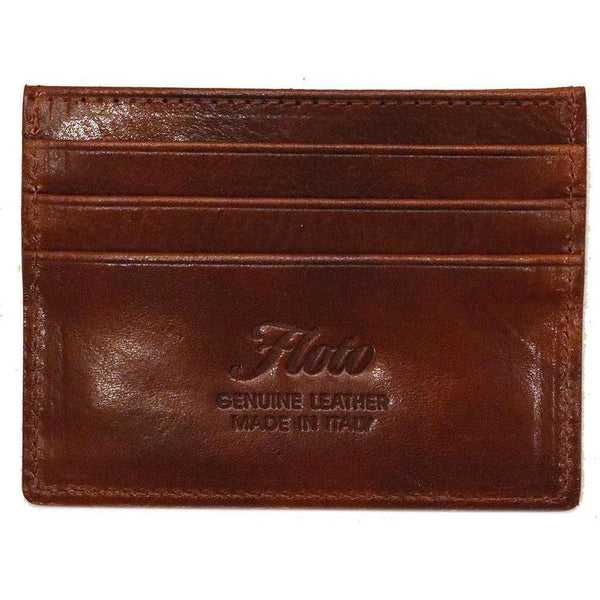 Floto Italian Venezia Leather Credit Card Wallet brown