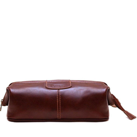 Floto Italian Venezia Dopp Toiletry Bag Travel Shave Kit brown