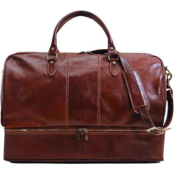 Floto Italian leather drop bottom duffle bag venezia brown 2