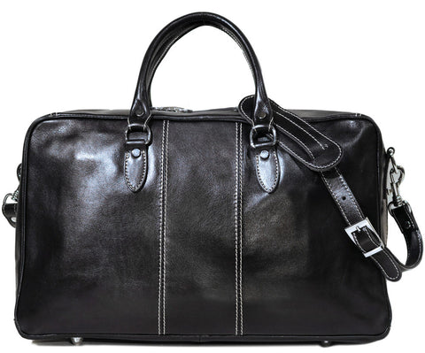 FLOTO Venezia Leather Trunk Duffle Black