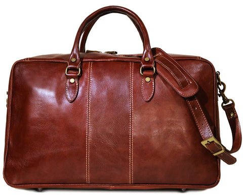 FLOTO Venezia Leather Trunk Duffle Vecchio Brown
