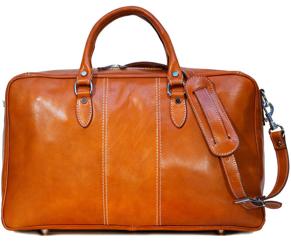 FLOTO Venezia Leather Trunk Duffle Olive Honey Brown