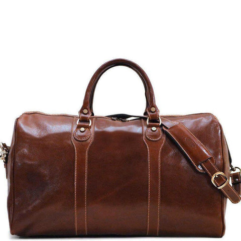 Floto Italian Milano Leather Duffle Bag Carry On Suitcase brown