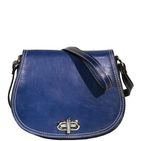 Floto Italian Leather Saddle Bag Cross Body Women's Bag blue 2