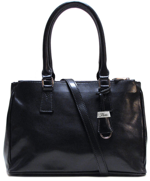 FLOTO Roma Leather Satchel Bag Black