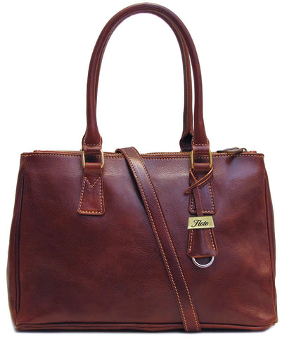 FLOTO Roma Leather Satchel Bag Vecchio Brown