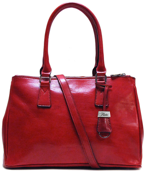FLOTO Roma Leather Satchel Bag Tuscan Red