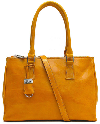 FLOTO Roma Leather Satchel Bag Yellow
