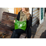 Floto Leather Tavoli Shoulder Tote Bag green