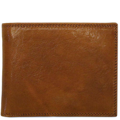 Italian Leather I.D. Window Wallet Floto Roma brown men's