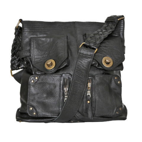 CADELLE LEATHER Leesa Satchel Bag Black