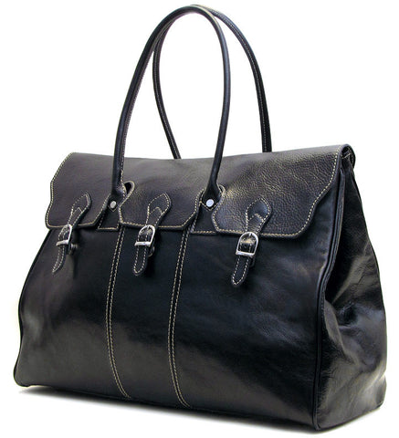 FLOTO Lugano Leather Duffle Black