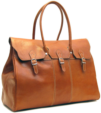 FLOTO Lugano Leather Duffle Olive Honey Brown
