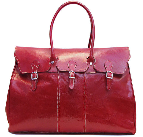 FLOTO Lugano Leather Duffle Tuscan Red