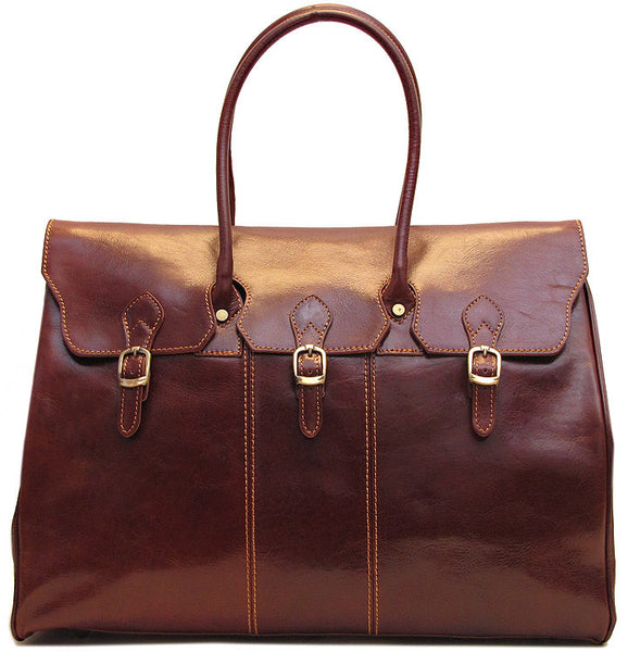 FLOTO Lugano Leather Duffle Vecchio Brown