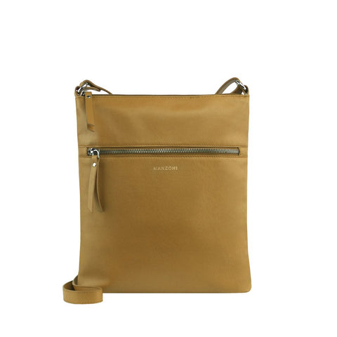 MANZONI ZIP FRONT CROSSBODY BAG MA801 CAMEL BROWN WITH FREE WALLET