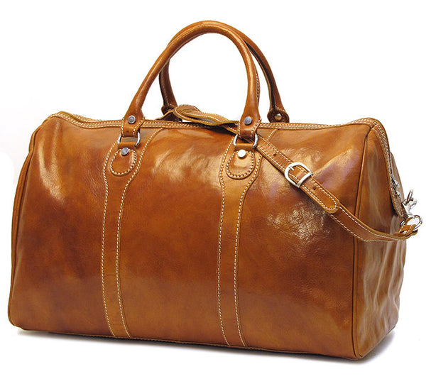 FLOTO Milano Leather Duffle Olive Honey Brown