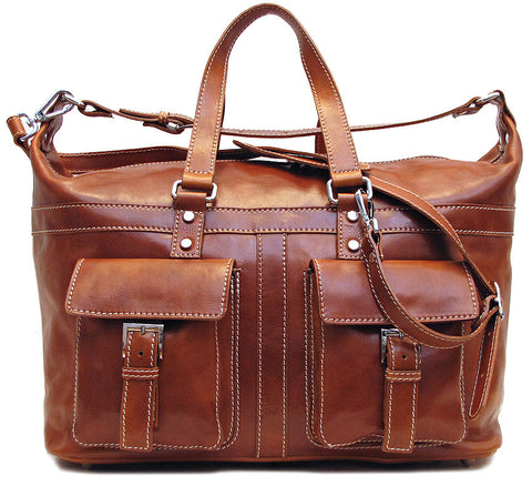 FLOTO Milano Leather Travel Bag Olive Honey Brown