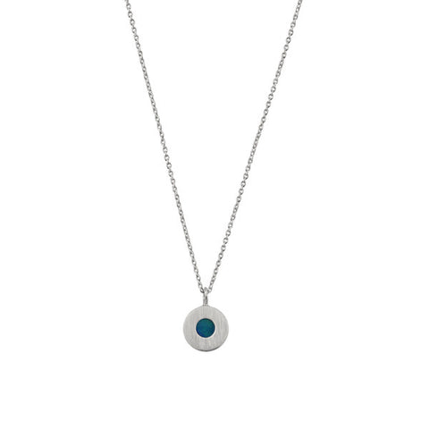 ICHU Opal Petite Circle Sterling Silver Necklace