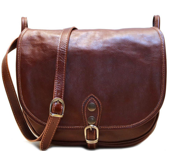 FLOTO PROCIDA LEATHER SADDLE SHOULDER BAG VECCHIO BROWN