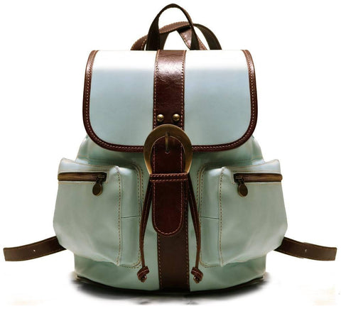 FLOTO POSITANO LEATHER BACKPACK BAMBINO BLUE/BROWN