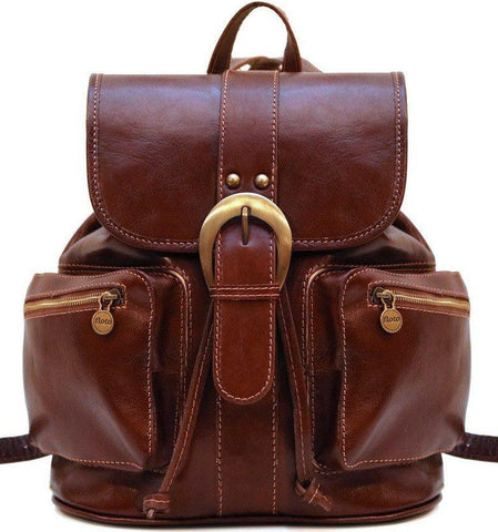 FLOTO POSITANO LEATHER BACKPACK VECCHIO BROWN