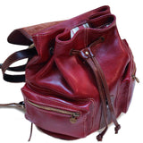 FLOTO POSITANO LEATHER BACKPACK RED/BROWN