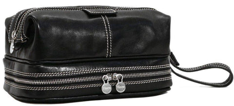 FLOTO POSITANO LEATHER TRAVEL KIT BLACK