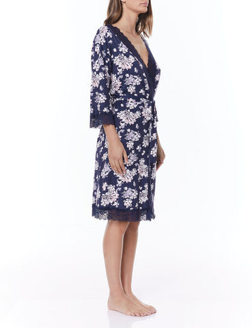 Gingerlily Pia Slinky Robe Navy Blue