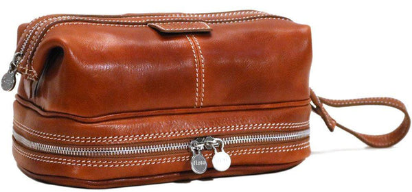 FLOTO POSITANO LEATHER TRAVEL KIT OLIVE BROWN